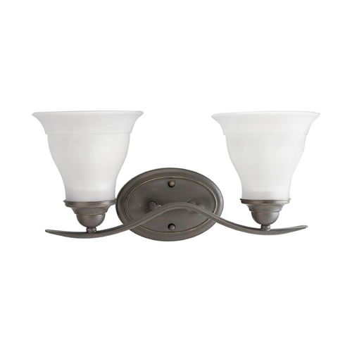 Progress Lighting Progress Bathroom Light with White Glass in Antique Bronze Finish P3191-20EBWB