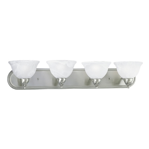 Progress Lighting Progress Bathroom Light with Alabaster Glass in Brushed Nickel Finish P3269-09
