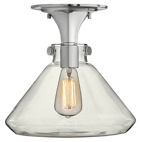 Hinkley Lighting Semi-Flushmount Light with Clear Glass in Chrome Finish 3147CM