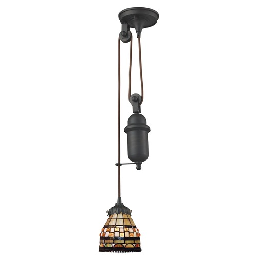 Elk Lighting Elk Lighting Tiffany Pulldown Tiffany Bronze Mini-Pendant Light with Bowl / Dome Shade 081-TB-10
