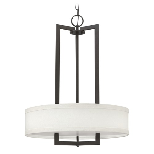 Hinkley Lighting Hinkley Lighting Hampton Buckeye Bronze Pendant Light with Drum Shade 3203KZ-GU24