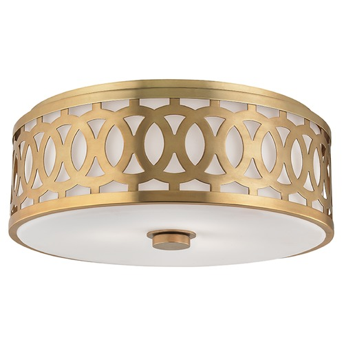 Hudson Valley Lighting Genesee 3 Light Flushmount Light Drum Shade - Aged Brass 4317-AGB