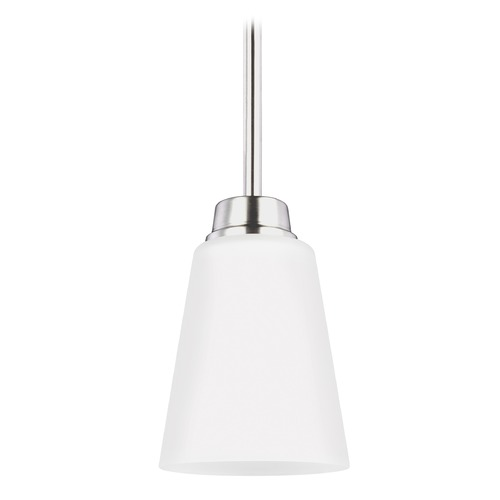 Sea Gull Lighting Sea Gull Kerrville Brushed Nickel Mini-Pendant Light with Empire Shade 6115201-962