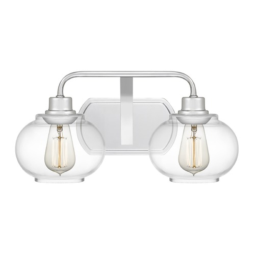 Quoizel Lighting Quoizel Lighting Trilogy Polished Chrome 2-Light Bathroom Light with Clear Glass TRG8602C