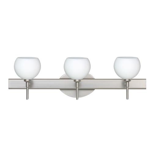 Besa Lighting Modern Bathroom Light with White Glass in Satin Nickel Finish 3SW-565807-SN