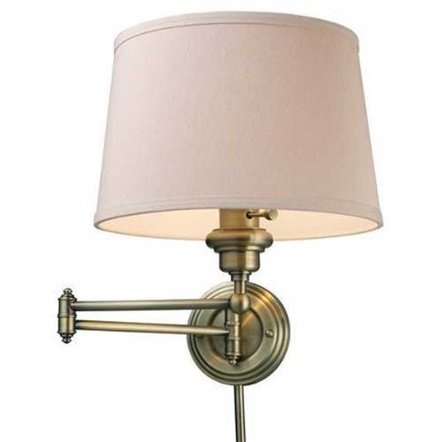 Elk Lighting Modern Swing Arm Lamp with Beige / Cream Shade in Antique Brass Finish 11220/1