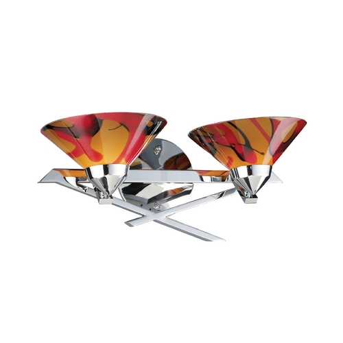 Elk Lighting Modern Art Glass Bathroom Light Chrome Refraction by Elk Lighting 1471/2JAS