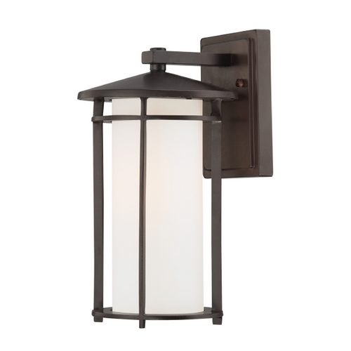 Minka Lavery Outdoor Wall Light with White Glass in Dorian Bronze Finish 72312-615B