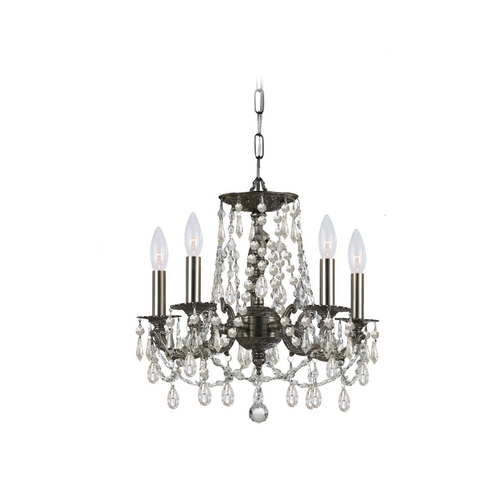 Crystorama Lighting Crystal Mini-Chandelier in Pewter Finish 5545-PW-CL-SAQ