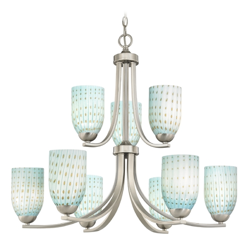 Design Classics Lighting Modern Chandelier in Satin Nickel Finish 586-09 GL1003D