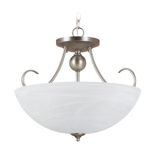 Sea Gull Lighting Pendant Light with Alabaster Glass in Antique Brushed Nickel Finish 77316-965