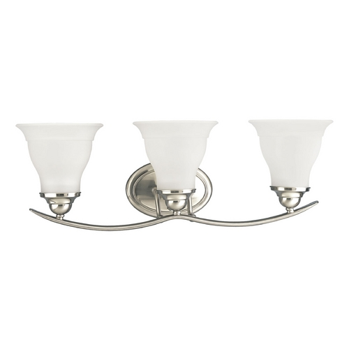 Progress Lighting Progress Bathroom Light with White Glass in Brushed Nickel Finish P3192-09EBWB