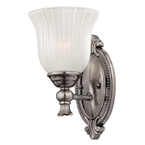 Hinkley Lighting Sconce with White Glass in Polished Antique Nickel Finish 5580PL