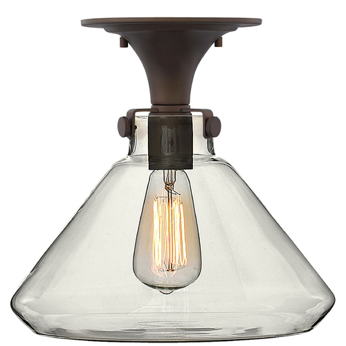 Hinkley Lighting Semi-Flushmount Light with Clear Glass in Oil Rubbed Bronze Finish 3147OZ