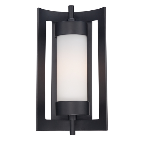 Quoizel Lighting Outdoor Wall Light with White Glass in Mystic Black Finish MLN8309K