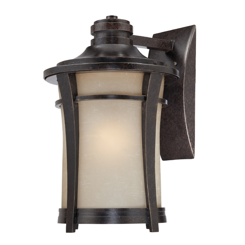 Quoizel Lighting Outdoor Wall Light with Beige / Cream Glass in Imperial Bronze Finish HY8413IB