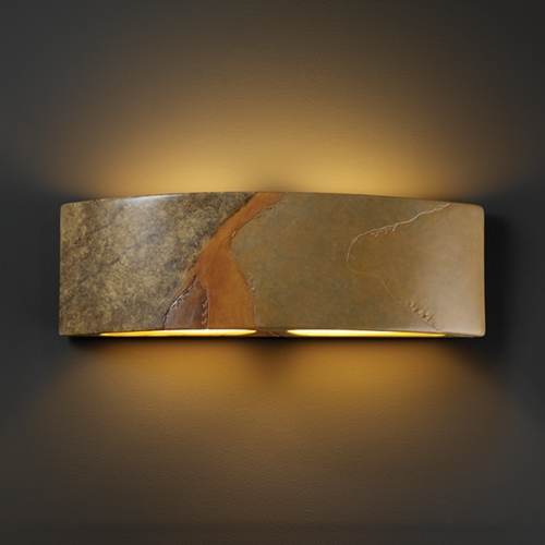 Justice Design Group Sconce Wall Light in Harvest Yellow Slate Finish CER-5205-SLHY