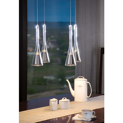 Holtkoetter Lighting Holtkoetter Modern Low Voltage Multi-Light Pendant Light with White Glass and 4-Lights C8410 G5770 SN