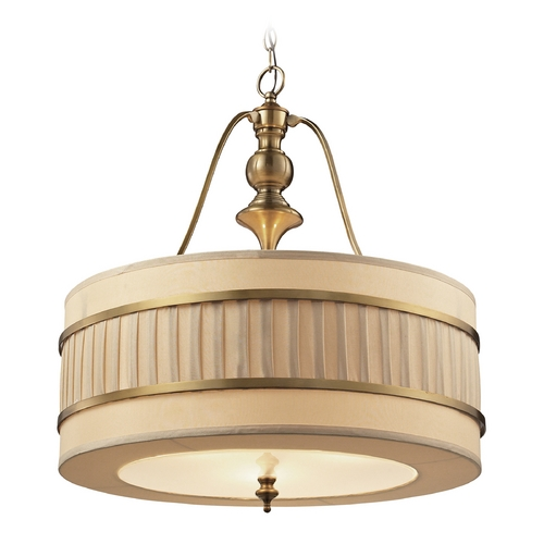 Elk Lighting LED Drum Pendant Light with Beige / Cream Shades in Brushed Antique Brass Finish 31387/3-LED