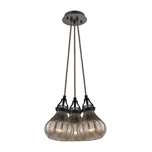 Elk Lighting Elk Lighting Danica Oil Rubbed Bronze Multi-Light Pendant with Bowl / Dome Shade 46024/3SR