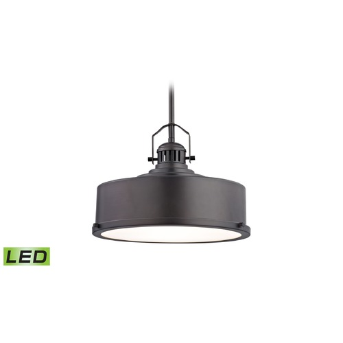 Alico Industries Lighting Alico Lighting Rexford Oiled Bronze LED Pendant Light with Drum Shade LC415-N-45