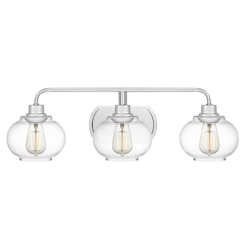 Quoizel Lighting Quoizel Lighting Trilogy Polished Chrome 3-Light Bathroom Light with Clear Glass TRG8603C