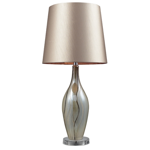 Elk Lighting Modern Table Lamp with Beige / Cream Shade in Painted Ribbon Finish D2257