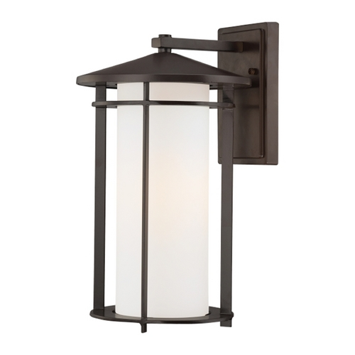 Minka Lavery Outdoor Wall Light with White Glass in Dorian Bronze Finish 72313-615B