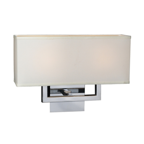 PLC Lighting Modern Sconce Wall Light with White Shades in Polished Chrome Finish 18196 PC