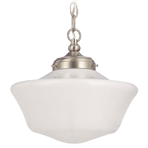 Design Classics Lighting 12-Inch Schoolhouse Pendant Light with Chain in Satin Nickel Finish FA4-09 / GA12 / A-09