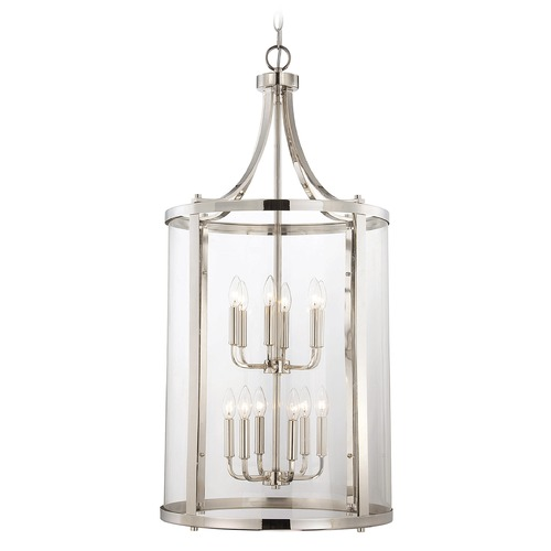 Savoy House Savoy House Polished Nickel Pendant Light with Cylindrical Shade 7-1042-12-109