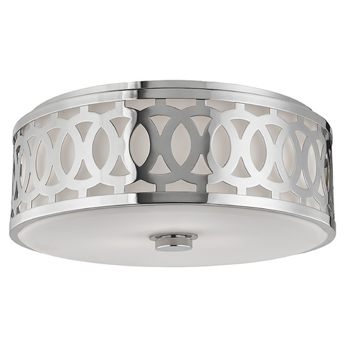 Hudson Valley Lighting Genesee 3 Light Flushmount Light Drum Shade - Polished Nickel 4317-PN