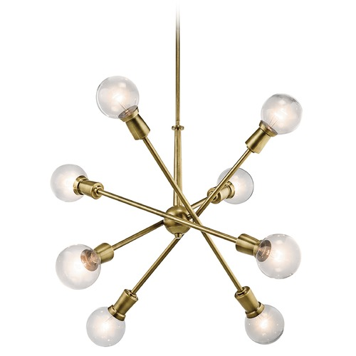 Kichler Lighting Mid-Century Modern Cluster Chandelier Brass 8-Lt by Kichler Lighting 43118NBR