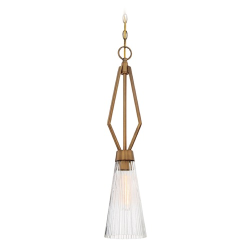 Designers Fountain Lighting Designers Fountain Montelena Old Satin Brass Mini-Pendant Light with Conical Shade 88930-OSB