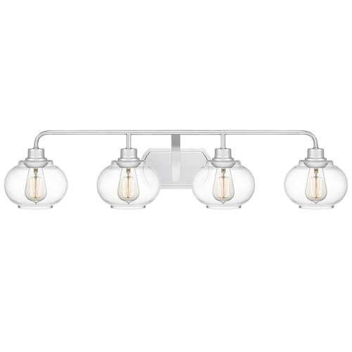 Quoizel Lighting Quoizel Lighting Trilogy Polished Chrome 4-Light Bathroom Light with Clear Glass TRG8604C