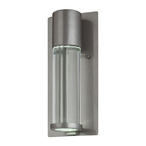 Minka Lavery Modern Outdoor Wall Light with Clear Glass in Tinted Silver Finish 72321-247