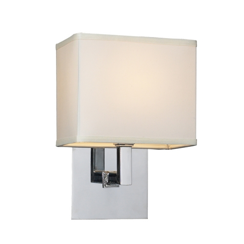 PLC Lighting Modern Sconce Wall Light with White Shade in Polished Chrome Finish 18194 PC