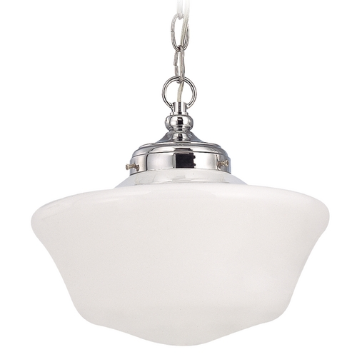 Design Classics Lighting 12-Inch Schoolhouse Pendant Light in Chrome Finish with Chain FA4-26 / GA12 / A-26