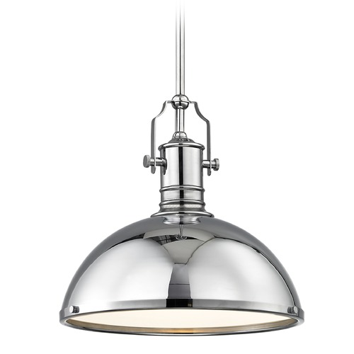 Design Classics Lighting Industrial Chrome Pendant Light with Metal Shade 13.38-Inch Wide 1765-26 SH1776-26 R1776-26
