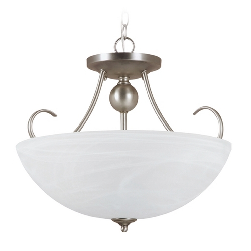 Sea Gull Lighting Pendant Light with Alabaster Glass in Antique Brushed Nickel Finish 77316BLE-965