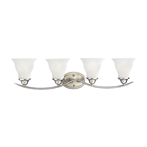 Progress Lighting Progress Bathroom Light with White Glass in Brushed Nickel Finish P3193-09EBWB