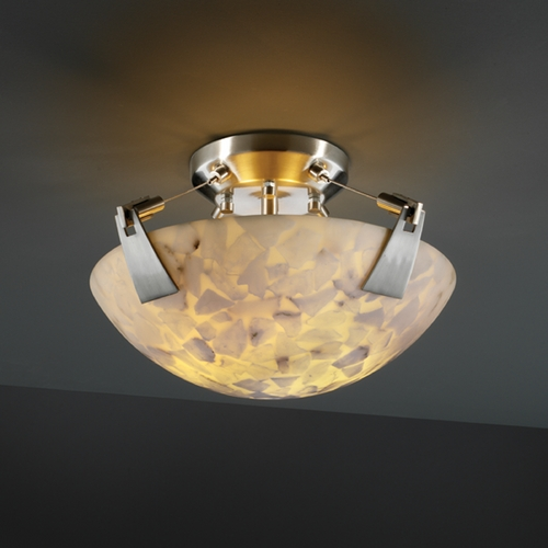 Justice Design Group Justice Design Group Alabaster Rocks! Collection Semi-Flushmount Light ALR-9630-35-NCKL