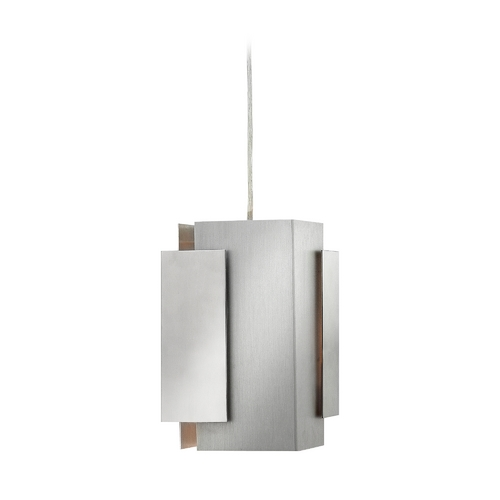 Fredrick Ramond Frederick Ramond Stratus Polished and Brushed Aluminum Mini-Pendant Light with Rectangle Shade FR30407PBA