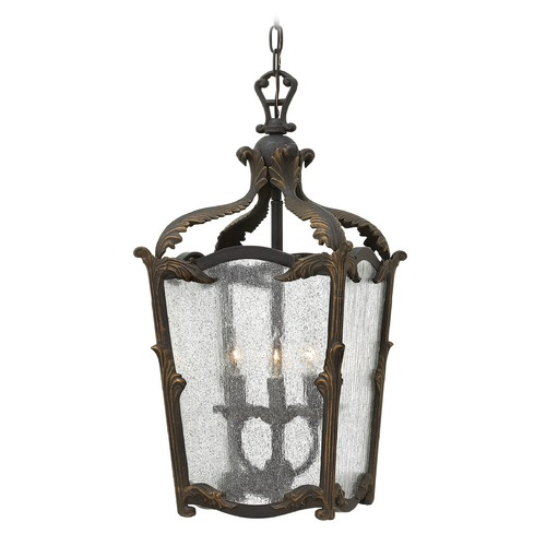 Hinkley Lighting Hinkley Lighting Sorrento Aged Iron Pendant Light with Triangle Shade 4523AI