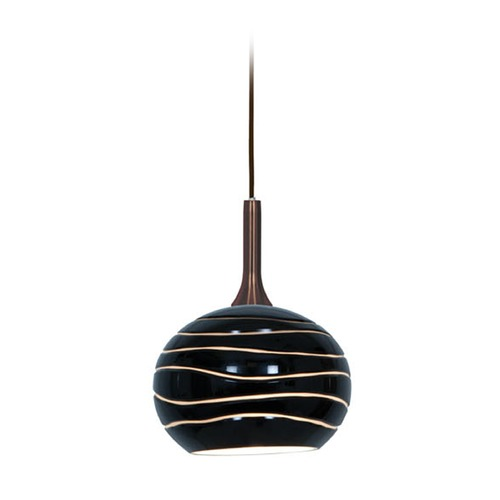 Access Lighting Access Lighting Delta Bronze Mini-Pendant Light with Bowl / Dome Shade 97979-BRZ/BLKLN