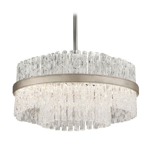 Corbett Lighting Modern Art Deco Pendant Light Silver Leaf with Polished Stainless Chime by Corbett Lighting 204-44