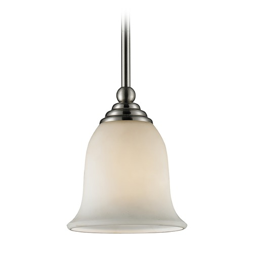 Z-Lite Z-Lite Lagoon Brushed Nickel Mini-Pendant Light with Bell Shade 704MP-BN