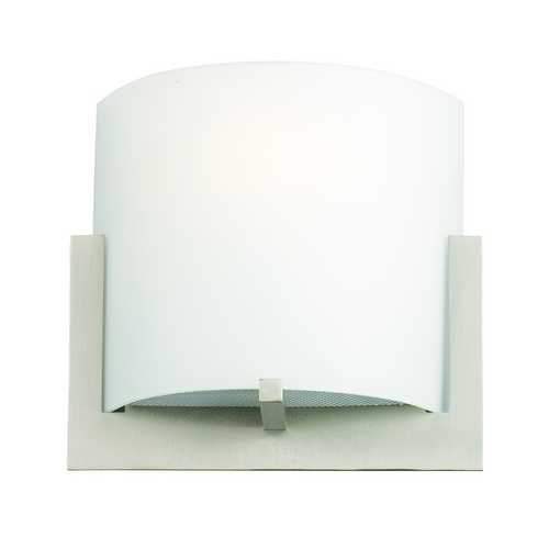 Philips Lighting Modern Sconce Wall Light with White Glass in Satin Nickel Finish F541336