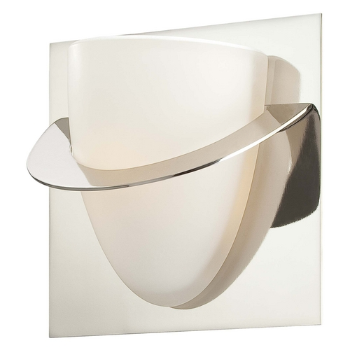 George Kovacs Lighting Modern Sconce Wall Light with White Glass in Polished Nickel Finish P5851-613