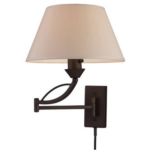 Elk Lighting Modern Swing Arm Lamp with White Shade in Aged Bronze Finish 17026/1
